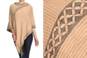 Relaxed Fit Knit Ponchos (Sand)