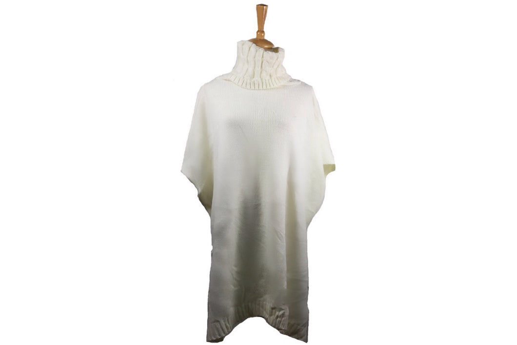 Relaxed Fit Turtleneck Ponchos (White)