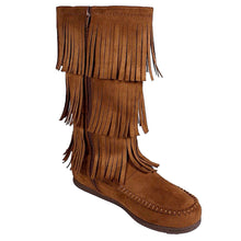 Mid-Calf Allover Fringe Flat Boots