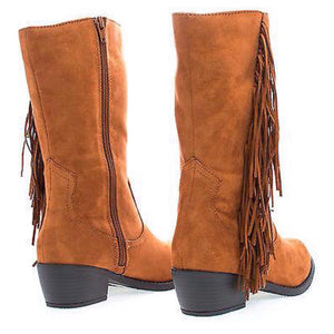 Mid-Calf Side Fringe Low Heeled Boots (Tan)