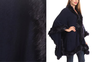 Over the Shoulder & Draped Fur Cape Sweater Poncho