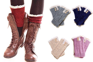 Leg Warmer Boot Cuffs (Lace Trim)