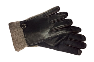 Fleece Lined Leather Gloves with Rubber Grip