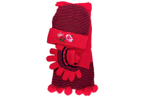 Girl's Scarf, Hat & Gloves Rose Set (3-Piece Set)