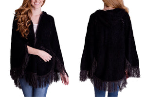 Hoodie & Zipper Poncho Sweater with Fringes and Stitching