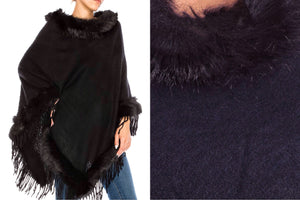 Relaxed Fit Knit Sweater Poncho with Fur