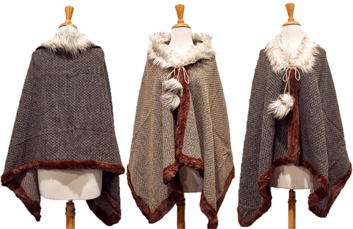 Reversible Over the Shoulder Fur Poncho Wrap