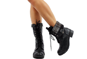 Lace-Up Combat Mid-Calf Boots (Black)