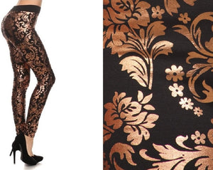 Metallic High Waist Leggings (Gold Paisley)
