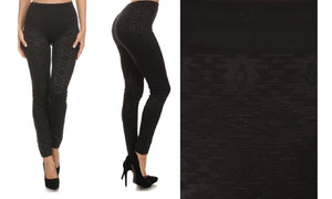 Metallic High Waist Leggings (Black Metallic)