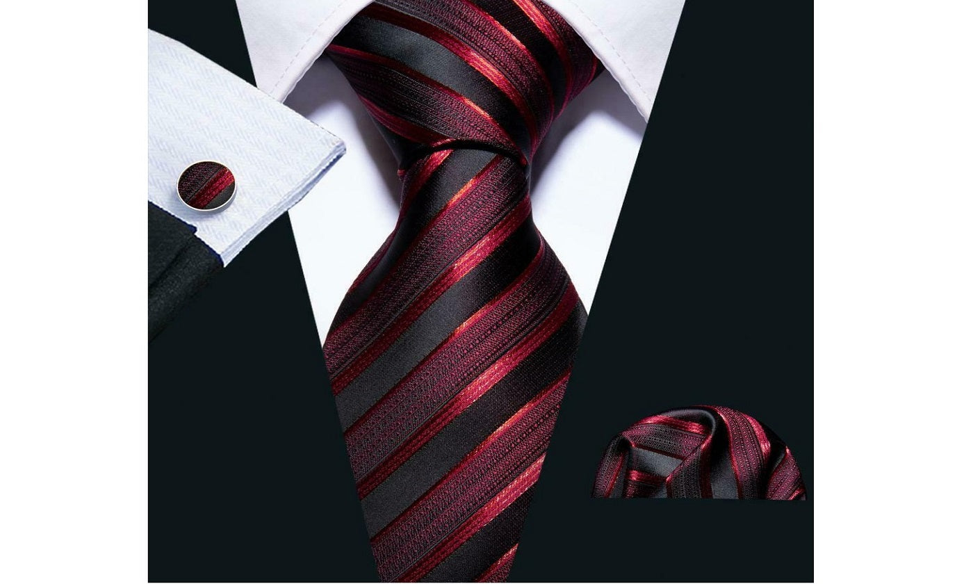 Designer Silk Tie Set (Red)