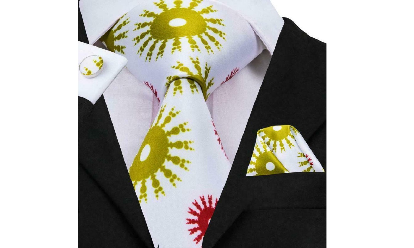 Designer Silk Tie Set (Yellow)