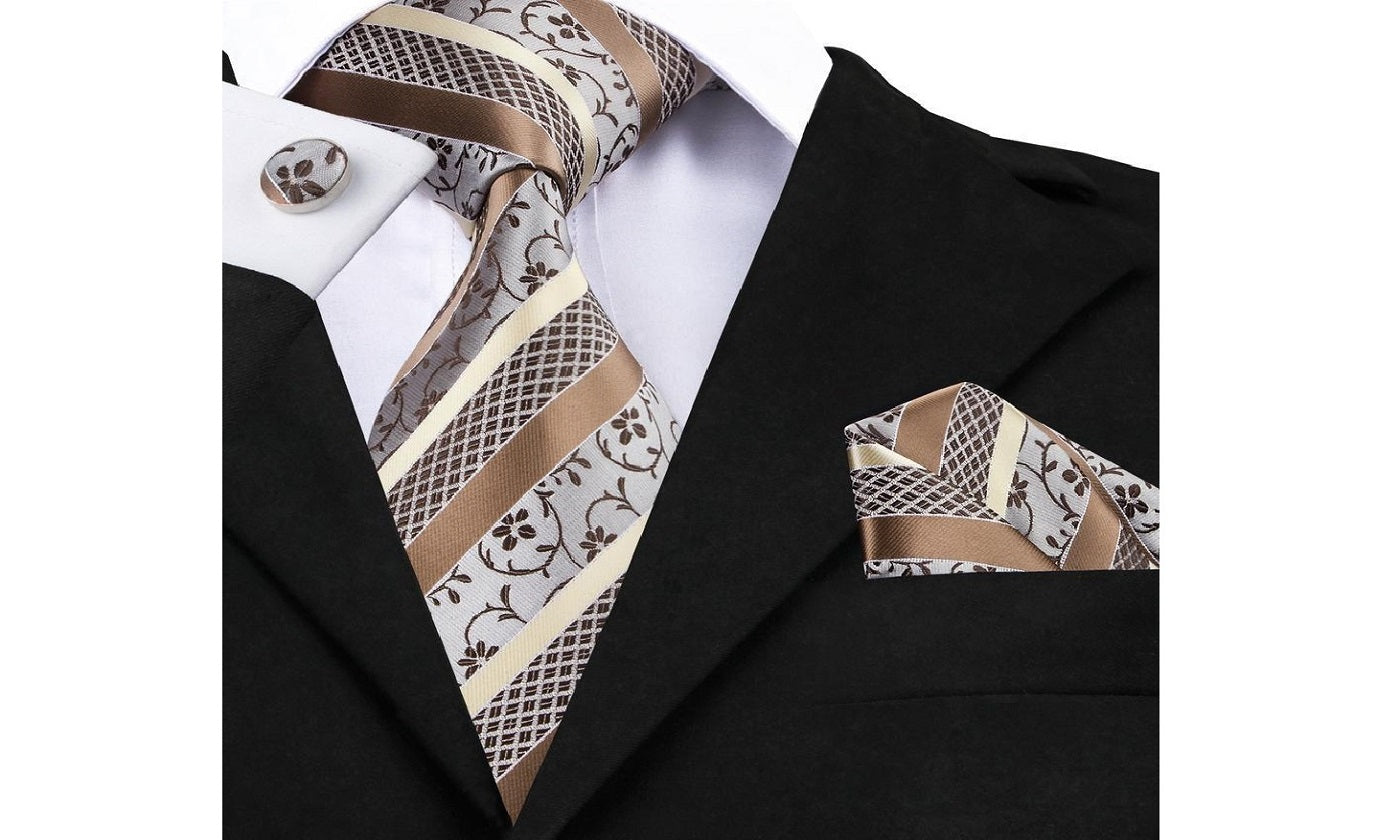 Designer Silk Tie Set (Neutral)