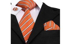Designer Silk Tie Set (Orange)