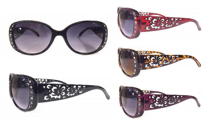 Oversized Flower & Rhinestone Sunglasses
