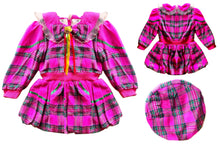 Set of Poofy Plaid Holiday Winter Fleece Jacket & Matching Beret Hat Age 5 & 6