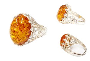 Natural Baltic Amber Ring (One Size)