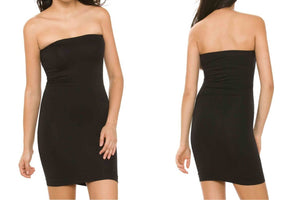 Seamless Strapless Tube Top Tunic Dress with Ribbed Waist