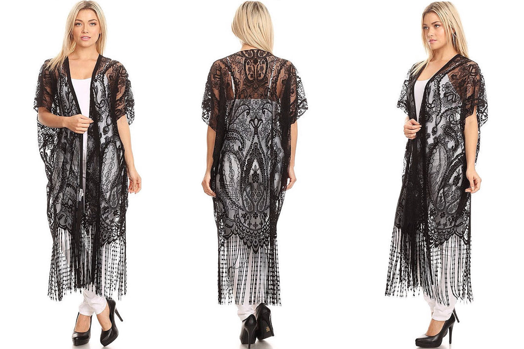 Long Embroidered Crochet Lace Kimono Cardigan
