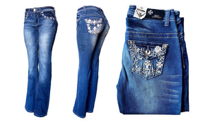 Mid-Rise Boot Cut Denim Push-Up Jeans
