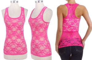 Sheer Floral Lace Racerback Tank Top