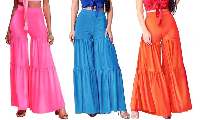 Slimming & Tiered Wide Leg Palazzo Pants