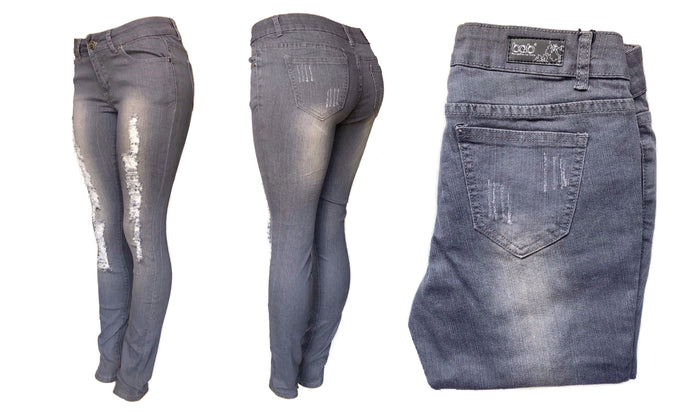 Mid-Rise Skinny Grey Denim Jeans