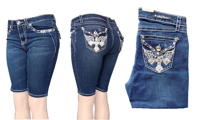 Mid-Rise Booty Push Up Capri Jeans