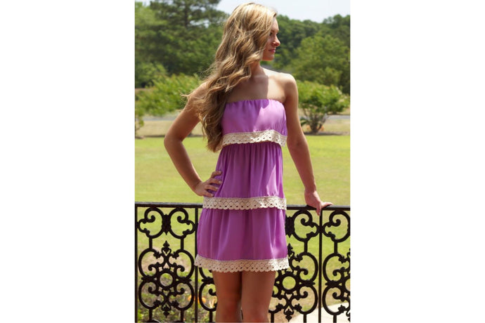 Layered Dress with Crochet Trim (Lavender Purple)