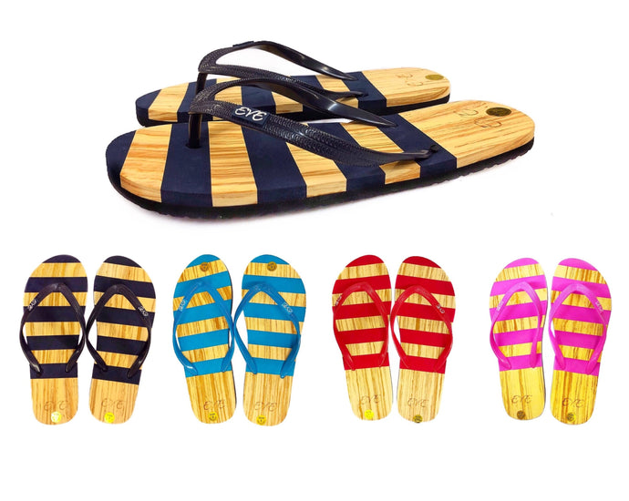 Casual Striped Flip Flop Sandals