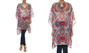 Multicolored Sheer Chiffon Cover-Up with Beaded Neckline