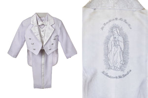 Virgin Mary Baptism Tux Suits for Boys and Toddlers (Silver)