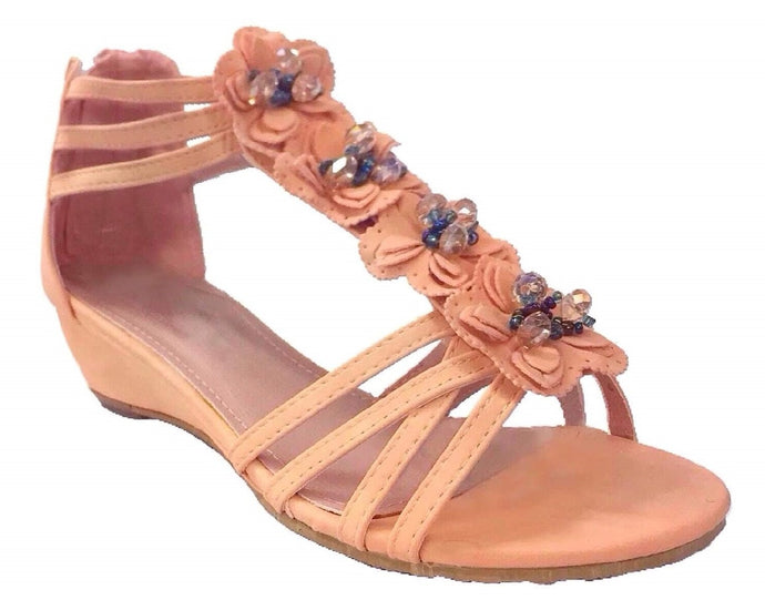 Crystal Beaded Floral Strappy Sandals