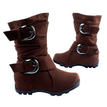 Baby Girls' Brown Flat Buckle Boots