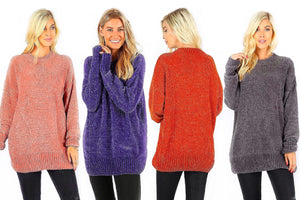 Oversized Velvet Cable Knit Everyday Sweater
