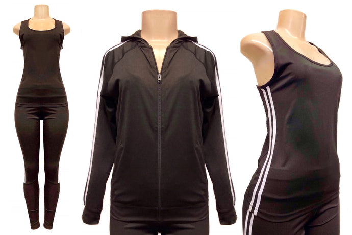 3 Piece Tank, Hoodie Jacket & Pants Tracksuit Set