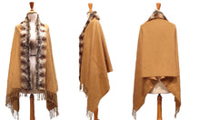 Oversize Scarf or Shawl with Tassels & Fur Collar