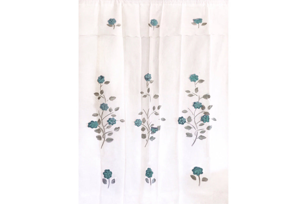 Sheer Curtains with Floral Embroideries (2-Pack)
