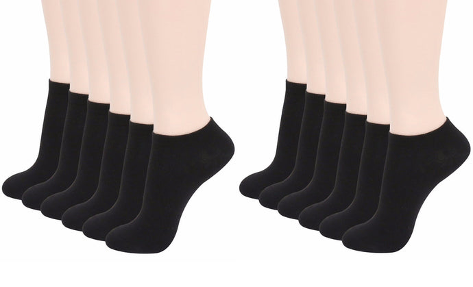 No Show Ankle Socks - Black (12-Pairs)