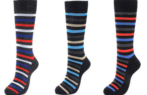 Men's Striped Color Dress Socks (12-Pairs)