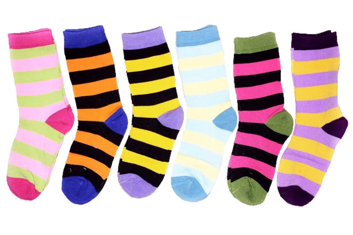 Colorful Stripped Fashion Crew Socks (12-Pairs)