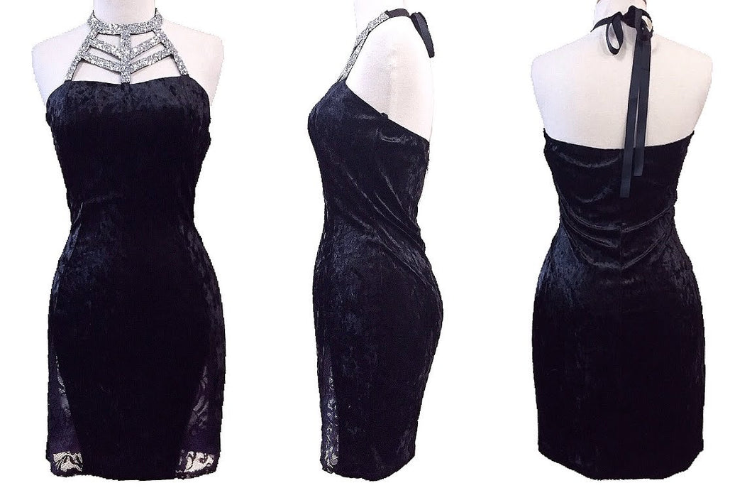 Crushed Velvet Lace Dress (Black)