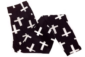 Cross Designed Leggings - Available in Black & White