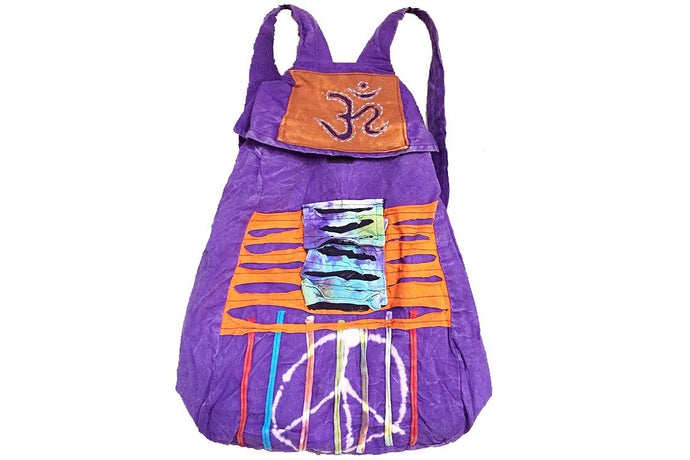 Peace Sign Hippie Patchwork Backpack