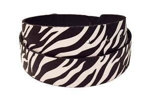 Black and White Striped Zebra Leather Belt