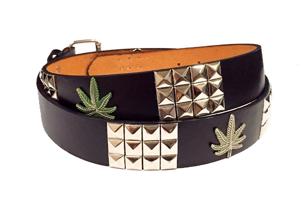 Studded Marijuana Cannabis Leather Belt