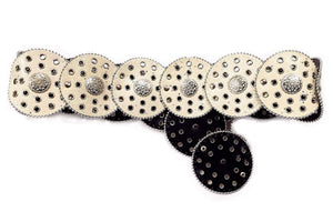 Adjustable Wide White/Silver Glitter Belt (One Size)