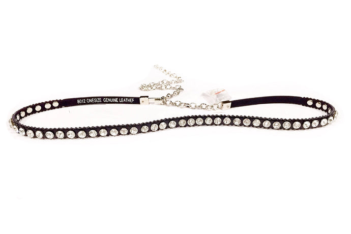 Metallic Chain Leather Belt (Black & Silver)