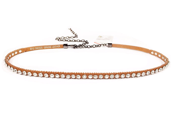 Metallic Chain Leather Belt (Tan & Silver)