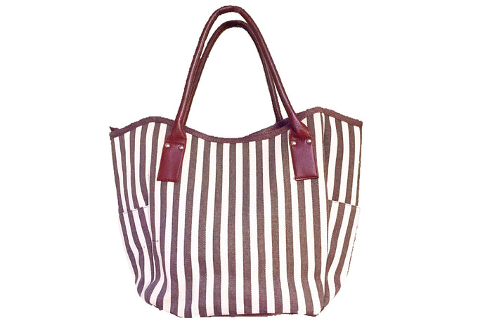 Fabric Casual Swing Tote Bag - Brown